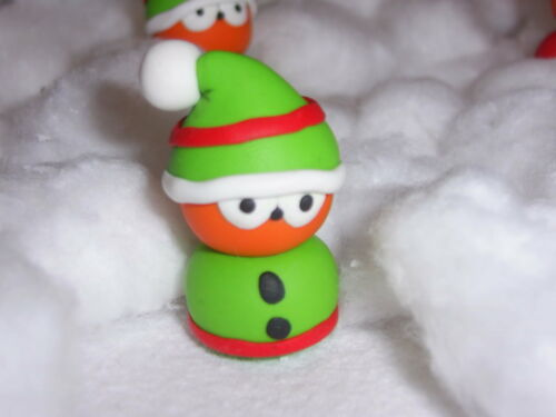 ** Elf Zingy EDF mascot handmade fimo ~ xmas keychain car mirror pendant **