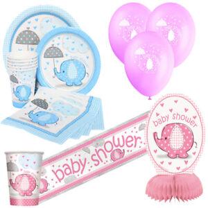 Baby-Shower-stoviglie-Forniture-Decorazioni-Rosa-Blu-Ragazza-Ragazzo-Elefanti-Festa-Uk