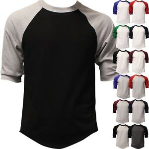Mens-Raglan-3-4-Baseball-T-Shirt-3-4-Sleeve-TwoTone-Tee-Jersey-Team-Sport-Cotton