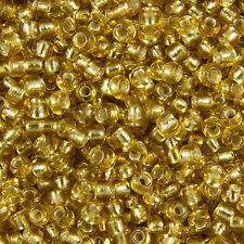 Wholesale 1KG Gold Silver Lined Round Glass Seed Beads Size 8/0 3mm