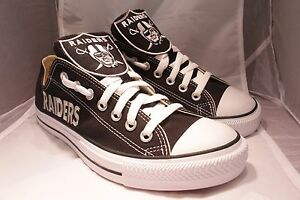 86ea5301dac1 Image is loading CUSTOM-OAKLAND-RAIDERS-CONVERSE-CHUCK-TAYLOR-BLACK-WHITE-