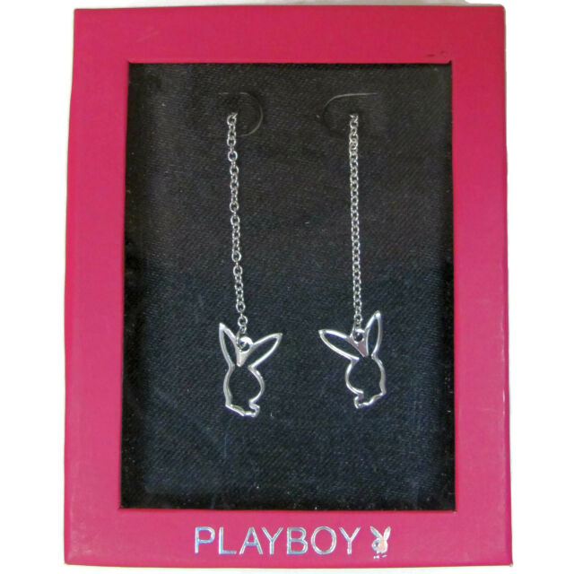 NEW Playboy Earrings 925 Sterling Silver Threader Long Chain Dangle Bunny Charm