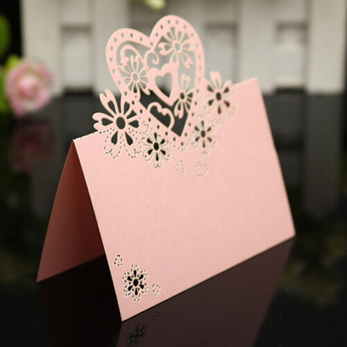 30 PINK WEDDING PARTY TABLE NAME LASER CUT LOVE HEARTS PLACE CARDS