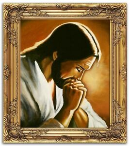 Religion-Gesu-Cristo-Fatto-a-Mano-Quadro-Olio-Immagine-Telaio-G01609