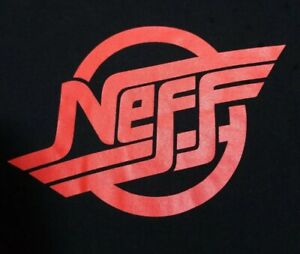 Neff-Strokes-Logo-T-shirt-Mens-Black-Size-M-Skateboard-Surf-Snow-Spell-Out-RED