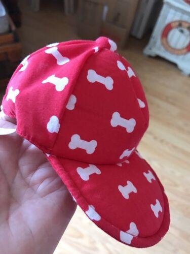 BOND Red White Bone Print CAP//HAT puppy//dog XS//SM