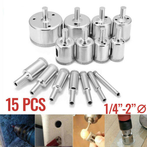 15PC 6-50mm Diamond Tool Glass Drill Bit Hole Saw Cutter for Tile Marble Ceramic