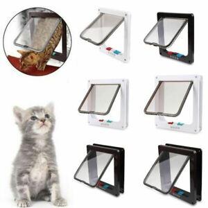 White-Brown-Frame-4-Way-Locking-Lockable-Puppy-Small-Cat-Dog-Flap-Pet-Door-S-M-L