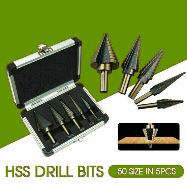 5PCS HSS Step Steel Cone Drill Titanium Bits Set Kit Hole Cutter + Aluminum Case