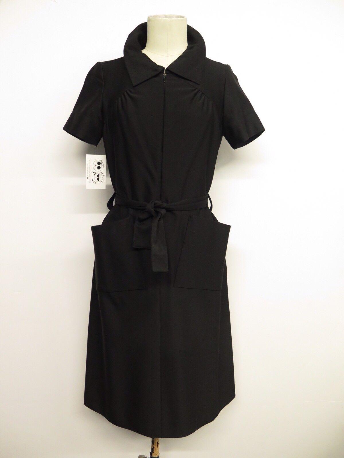 Vintage Courreges Couture Future Zip Front Belted Shift Dress Sz S
