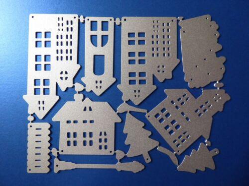plantilla elaboración de tarjetas hazlo tú mismo Craft ** hermoso pueblo de Navidad Metal Corte muere