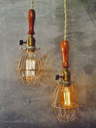 Set of 2 Vintage Industrial Trouble Lights Bulb Cage Lamp DOUBLE TROUBLE