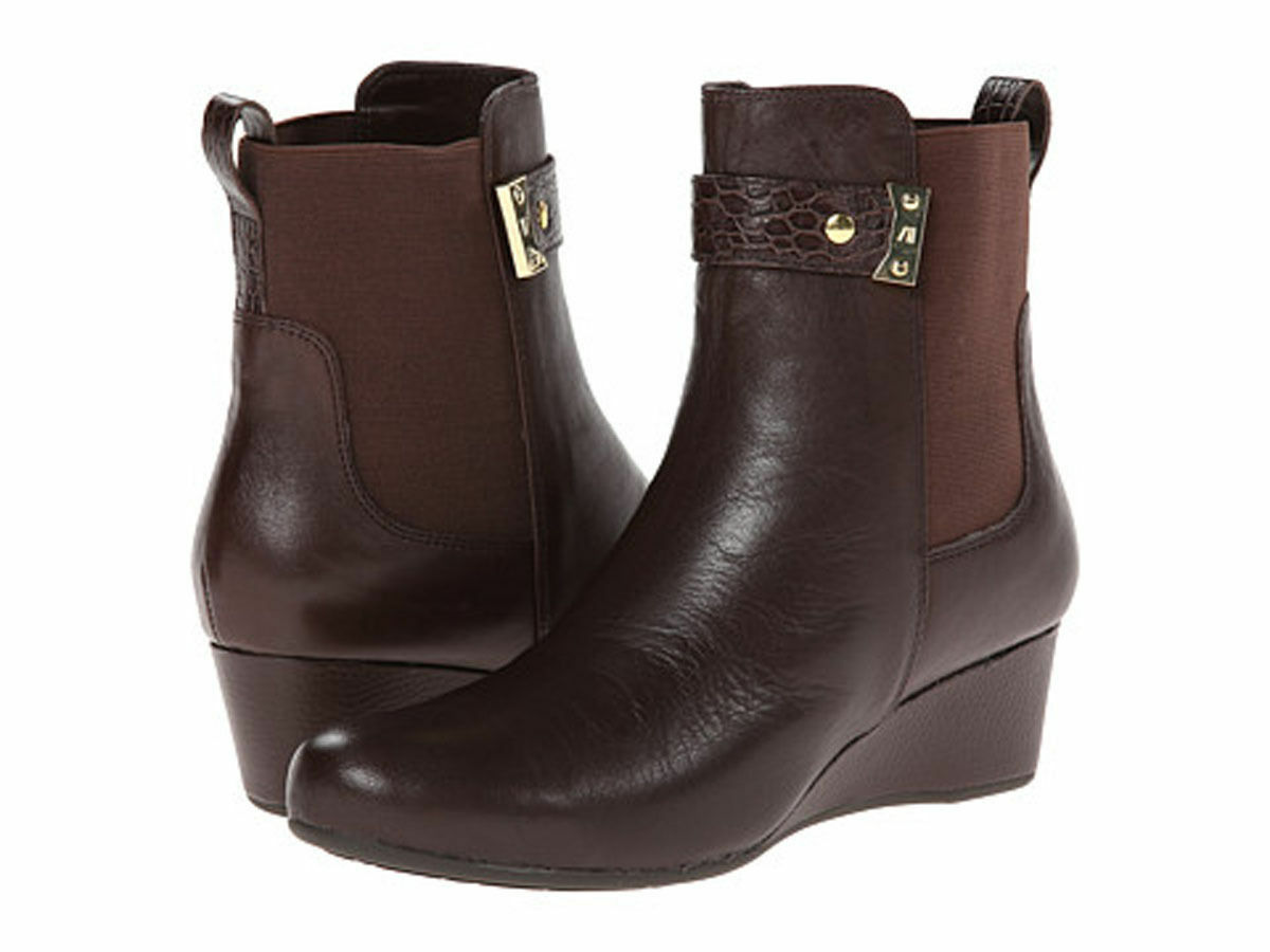 Rockport 11 M Boot Total Motion Gore Pull On Croc Strap Brown Wedge Bootie