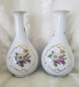 RARE-Pair-of-7-034-PM-Martinroda-Floral-amp-Gold-Porcelain-Vases