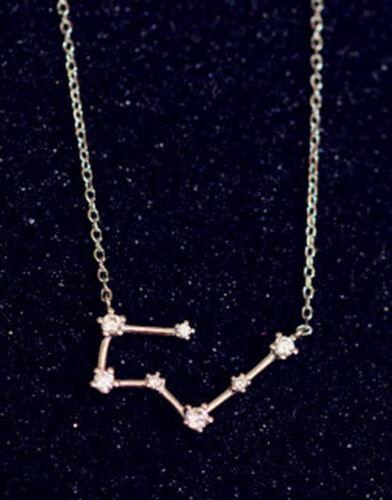 Colgante Collier constelación estrella caracteres toro cristal cadena plateado