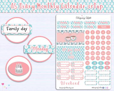 pero puede ser utilizado en cualquier otro diario Planificador de la etiqueta Engomada de configuración mensual para A5 diarios