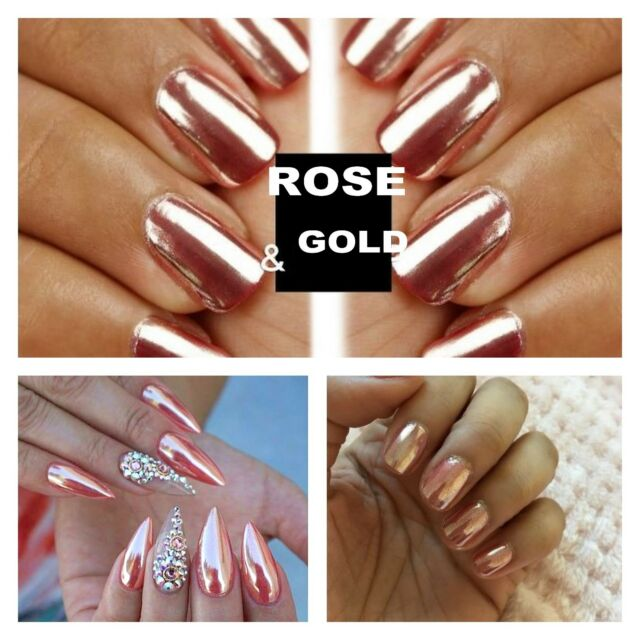 Mirror Powder Chrome Effect Pigment Nails Rose Gold Silver Nail Art