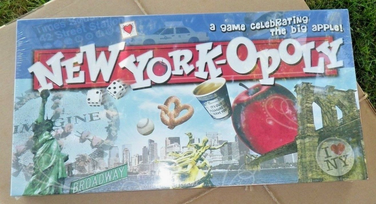 NEW YORK-OPOLY Late For The Sky Real Estate Board Game Big Apple New