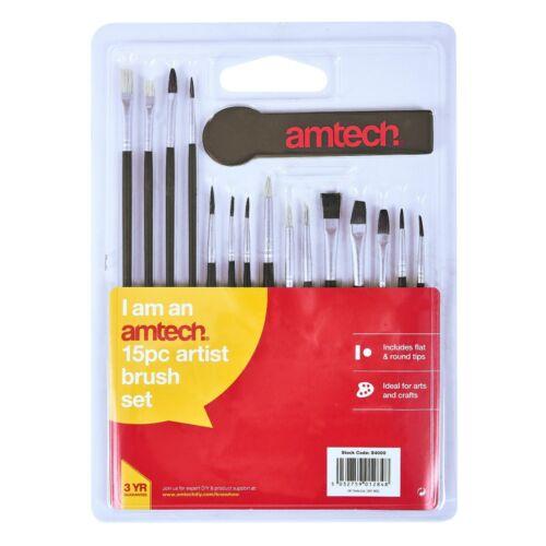 15PC conjunto de pinceles de artista cepillo Amtech Pintura Artística Pintura De Color Acrílico Aceite plana redonda