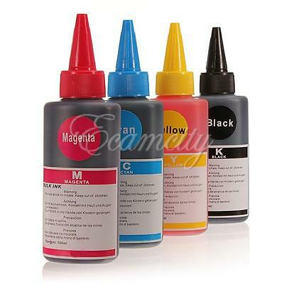 4x 100ml Bottle Color Ink Jet Cartridge Refill Kit for HP Canon Brother Printer