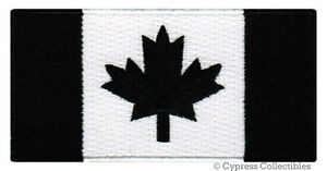 CANADIAN-FLAG-EMBROIDERED-IRON-ON-PATCH-CANADA-EMBLEM-ALL-BLACK-VERSION