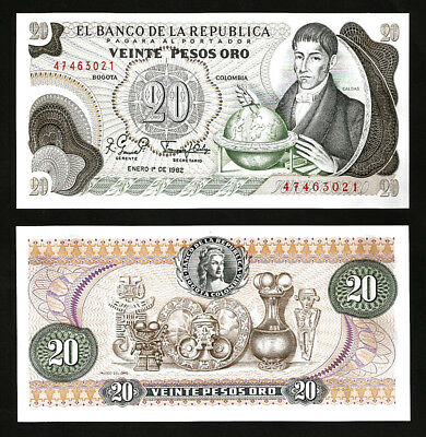 409d UNC LOT Colombia 10 x 20 Pesos Oro Pick 409 1982