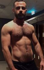 Shirtless Male Muscular Hairy Chest Beard Hunk Beefcake Man PHOTO 4X6 D710