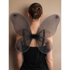 NEW Black net fairy wings glitter Adult childrens party fancy dress halloween
