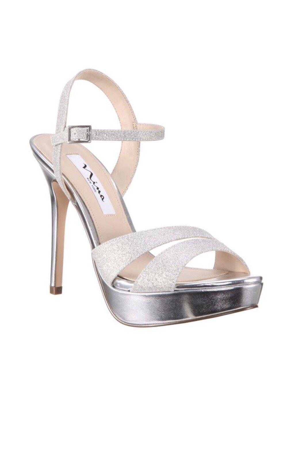 New Nina Silana argent Glitter Platform  Sandals Taille 9M.