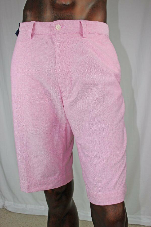 POLO By Ralph Lauren Mens Pink Oxford Flat Front Shorts NWT