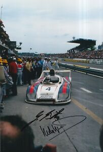 Hurley-Haywood-and-Jurgen-Barth-Hand-Signed-12x8-Photo-Le-Mans-Porsche-1