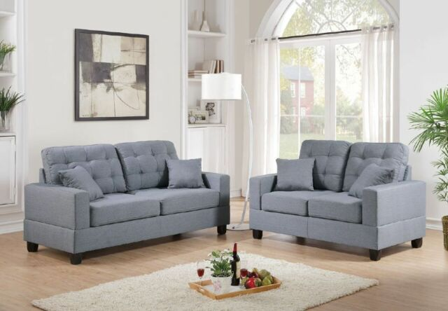 Sofa & Loveseat Modern 2pc Sofa Set Gray Cushion Seat Pillows Linen Fabric
