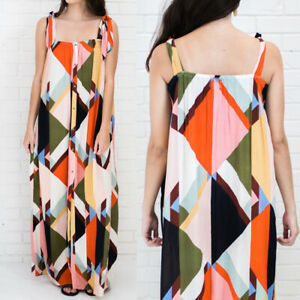 UK-8-26-Womens-Ladies-Summer-Beach-Maxi-Dress-Holiday-Strappy-Button-Sun-Dresses