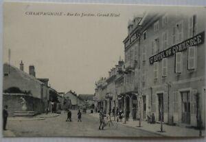 Champagnole-39-CPA-strasse-Gaerten-Grosser-Hotel-Bon-Etat-Anime
