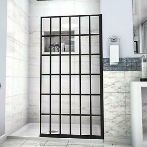 Mocoloo 34 In. W X 72 In. H Framed Black Fixed Tempered Glass Panel Shower Door Canada Preview