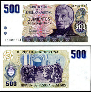 Argentina 5 pcs x 500 Pesos 1984 UNC Pick 316 Lemberg-Zp
