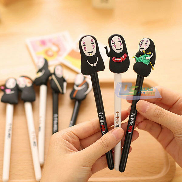 2Pcs 0.5mm Black Ink Ball Pen Anime Cartoon No face Man Ballpoint Pen Roller NEW