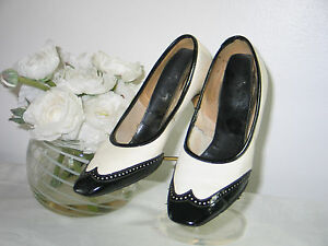 ca1ffbec8c4 Details about Vintage 1940s Black & White High Heel Shoes -9 1/2 inches long