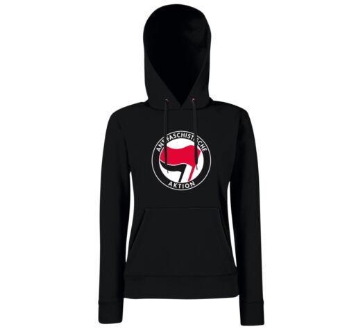 Girls Hoodie ANTIFASCHISTISCHE AKTION Antifa Hardcore Schwarzer Block Punk