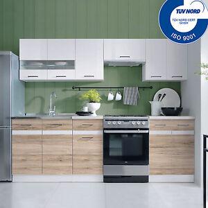Küchenzeile Küche Einbauküche 2,4m EICHE SANREMO WEISS AB LAGER ...