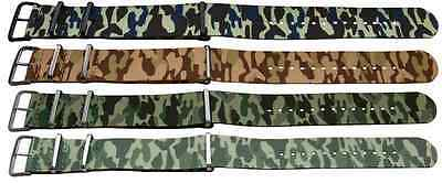 Superb Nato Nylon Camouflage Military Watch Strap Wristwatch Band Colours Army