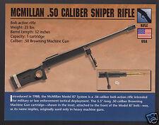 McMILLAN MODEL 87 .50 CALIBER SNIPER RIFLE Gun Classic Firearms PHOTO CARD