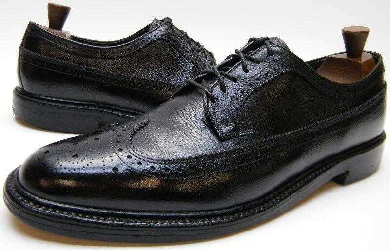 Zapatos De Vestir hombre Vintage LB SHEPPARD HANOVER negro punta del ala Brogue Cuero Oxford 13 B