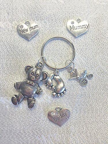 NEW BABY PERSONALISED KEY RING CHARM Mummy Daddy TEDDY BEAR PRAM SHOWER GIFT
