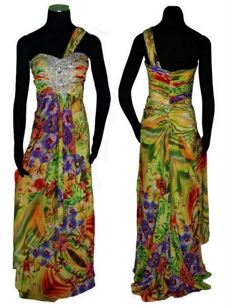 Betsy & Adam Women Jeweled Multi Floral Print One Shoulder Formal Evening Gown 4