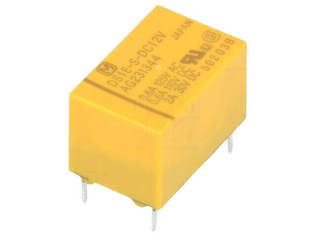 DS1E-S-DC12V Relay: electromagnetic; SPDT; Ucoil: 12VDC; Icontacts max: 2A; 720Ω