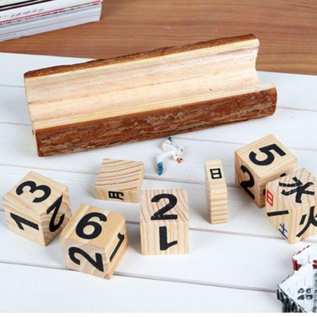 Wooden Perpetual Calendar Manual Wood Block Small Desk Office Decor