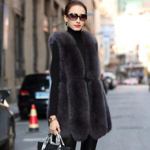 Women Real Vulpes Fox Fur Vest Sleeveless Gilet V-neck Winter Thick Warm Jacket