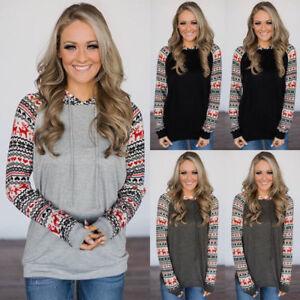 Women-Long-Sleeve-Hooded-Pullover-Sweatshirt-Sweater-Jumper-Tops-Casual-Blouse