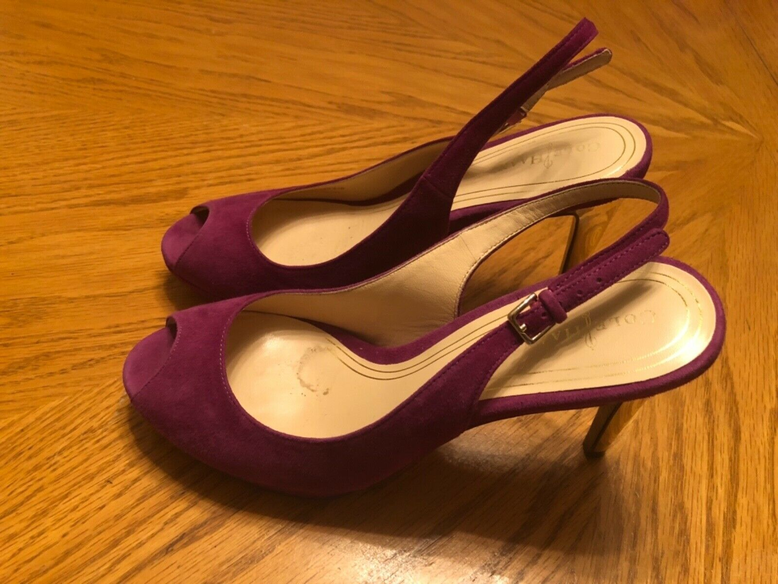 Cole Haan Purple Suede Heels Ankle Strap Size 8.5B